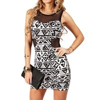 Black/Ivory Tribal Scuba Cutout Dress