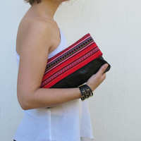 Black leather folded clutch with traditional red Greek woven fabric. Women purse Crete-Clutch 04 Available in other colors too.  NEW