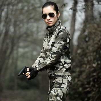 Tactical Hunting Clothing Women Military Camouflage Uniforms Multicam Combat Cotton Shirt+Pants Tactical Ghillie Suit For Female