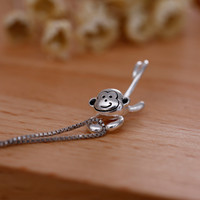 Gift Stylish New Arrival Jewelry Shiny 925 Silver Matte Lovely Gifts Necklace [8026161543]