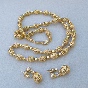 NAPIER Vintage 1970's Gold-Tone Filigree Bead Necklace with Earrings