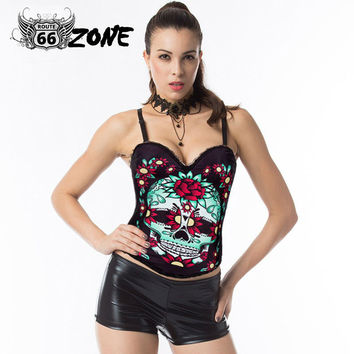 Sugar Skull Overbust Waist Slimming Bustier - Push Size 2XL Burlesque Gothic Clothing