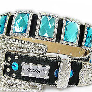 Cowgirl Bling Western Belt Black Cowhide w/Blue Large Square Conchos/Rhinestones