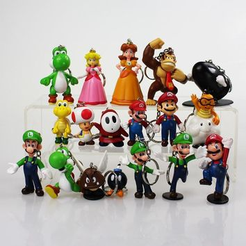 Super Mario party nes switch  Bros Keychain 18pcs/lot  Luigi Mushroom Toad Princess Keychain Figure Toys   AT_80_8