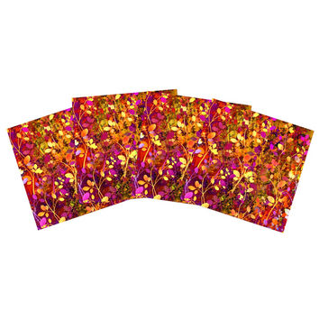 "Ebi Emporium ""Amongst the Flowers - Warm Sunset"" Pink Orange Indoor/Outdoor Place Mat (Set of 4)"