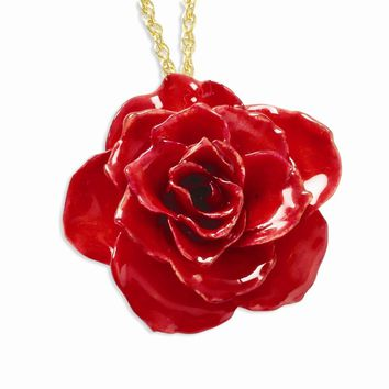 Lacquer Dipped Red Rose w/ Gold-plated Chain