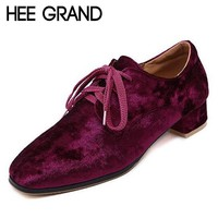 HEE GRAND Velvet Lace-Up Vintage Women's Oxfords/Shoes
