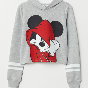 Short Hooded Sweatshirt - Lt. gray melange/Mickey Mouse - Kids | H&M US