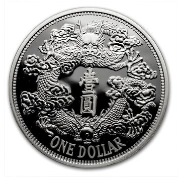 2018 China 1 oz Silver Tientsin Dragon Dollar Restrike (Premium Uncirculated)