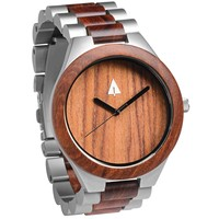 Stainless Steel Wood Watch // Silver Coral Reef