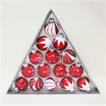 15 Christmas Ornaments - Red And White Balls