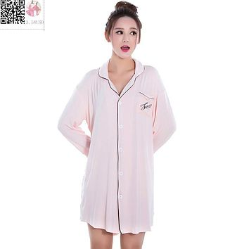 Summer Fashion Long Sleeved Cotton Sleepwear for Women Tops Black Pink Blouses&Shirts Dress Sexy Nightie Nightgown Sleepshirts
