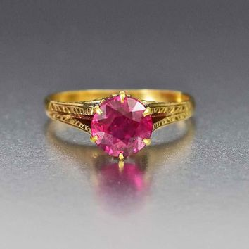 Ruby Solitaire Gold Filigree Art Deco Engagement Ring