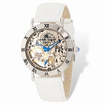 Charles Hubert Ladies Stainless 35mm Skeleton Dial Leather Band Watch