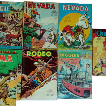 vintage BIGGLES RODEO YuMA OMBRaX BLeK NeVADA Freanch Canadian comic book lot cowboy outlaw kiwi zembla