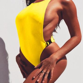 Thong Yellow 2018 Sexy Buckle One Piece Swimsuit Solid Women Fused Swimwear Backless 1 piece Brazilian May Monokini bathing suit