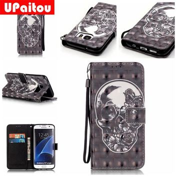 UPaitou 3D Painted Skull PU Leather Case for Samsung Galaxy S4 S5 S6 S7 Edge Plus Flip Wallet Cover for S6Edge S7Edge Cases