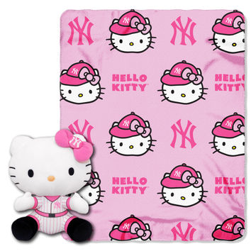 Yankees  40x50 Fleece Throw and Hello Kitty Character Pillow Set