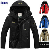 Man Trekking Winter Fur Thermal Warm Fishing Outdoor Hoody Jackets Camping Hiking Skiing Climing Sports Skiing Coat 5XL J23
