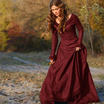 Renaissance Medieval Dresses Long Sleeve Long Maxi