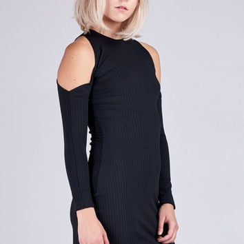 Motel Marsha Rib Poly Bodycon Dress