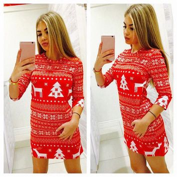 Autumn Winter Women designer clothes Christmas Party Bodycon Casual Ladies Mini Dress Round Neck Long Sleeve Regular Size Pullover