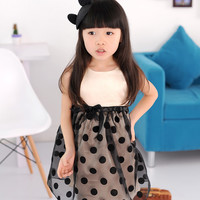 Girls 1pc Cotton Wave Casual Dress Black