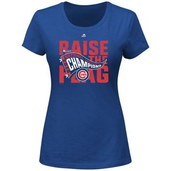 Women's Chicago Cubs Majestic Royal 2016 National League Champions Locker Room T-Shirt