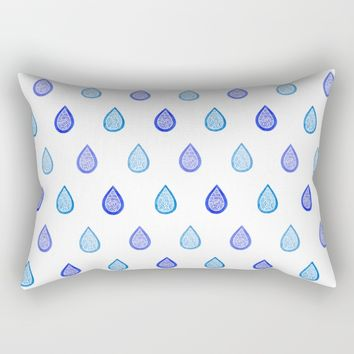 Blue raindrops Rectangular Pillow by Savousepate