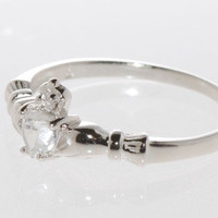Sterling Silver Clear Cubic Zirconia Claddagh CZ Band Ring size 3 4 5 6 7 8 9