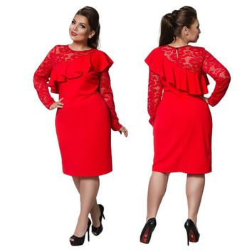charo ruffled shoulder Plus Size Dress Lace Women Ruffles Bodycon Sexy Party Club black blue red burgundy