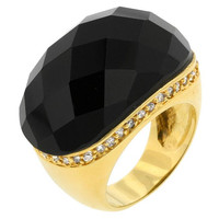Black Beauty Faceted Onyx Ring, size : 09