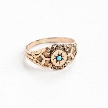 Antique 10k Rose Gold Filled Simulated Turquoise Ring - Vintage Victorian Size 7 1/4 Blue Glass Cabochon Incised Star Repousse Jewelry