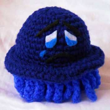Mr. Scrubbles Scrubber - Oh So Blue - Crochet Poof On The Top Pot Scrubbie Nylon Tenticles Below