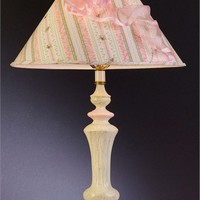 Pink Ivory Crackled Bow Lamp