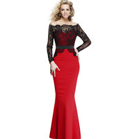 Vfemage Women Elegant Floral Lace Patchwork Contrast Off Shoulder Party Evening Prom Mermaid Stretch Bodycon Long Maxi Dress 046