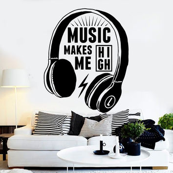 Vinyl Wall Decal Headphones Musical Quote Music Teen Stickers Unique Gift (ig4425)
