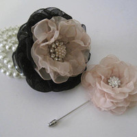 Gorgeous Black with Champagne Chiffon Wrist Corsage Boutonniere Set with Pearl and Rhinestone Accents Prom Homecoming Winter Formal Wedding