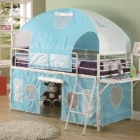 Boys Tent Twin Size Loft Bunk Bed in Light Blue & White Finish: Home & Kitchen
