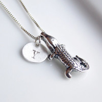 Alligator Necklace, Crocodile Necklace, Sterling Silver Crocodile, Alligator Charm, Personalized Womens, Teen Necklace, Womens gift