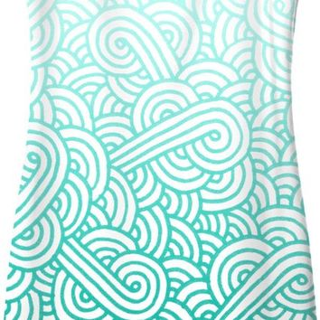 Gradient turquoise blue and white swirls doodles Simple Dress