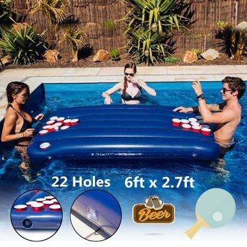 6ftx2.7ft Inflatable Beer Table Pool Float Summer Water Party Air Mattress Ice Bucket Serving/Salad Bar Tray Food Drink Holder