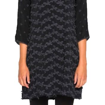 Johnny Was Women's Sanded Black Flower Patch Tunic