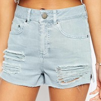 ASOS Denim Side Split Shorts in Sea Blue with Rips