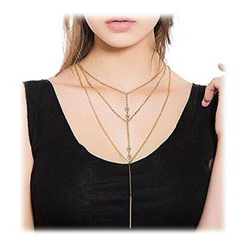 Wowanoo Simple Layered Bar Pendant Necklace Boho Feather Chain Necklace for Women Jewelry