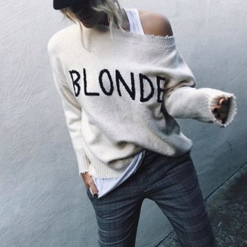 Blonde Frayed Trim Embroidered Hair Color Sweater