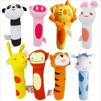1pc Newborn Toys Soft Animal Model Handbells Plush Kids Mobile Baby Toy 0-24months CX677851