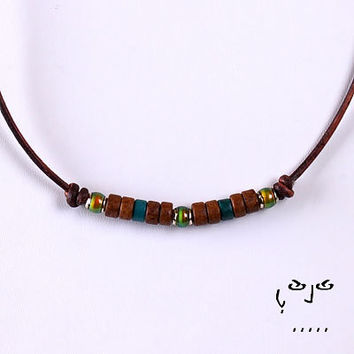VujuWear Earth Mood Necklace  Men's Leather Necklace