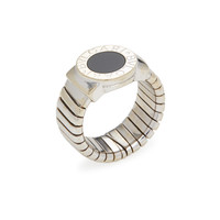 Bulgari Women's Bulgari White Gold & Onyx Tubogas Ring - Black - Size 6.5