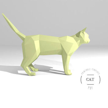 Printable DIY template (PDF).  Cat low poly paper model. 3D animal paper sculpture. Origami.